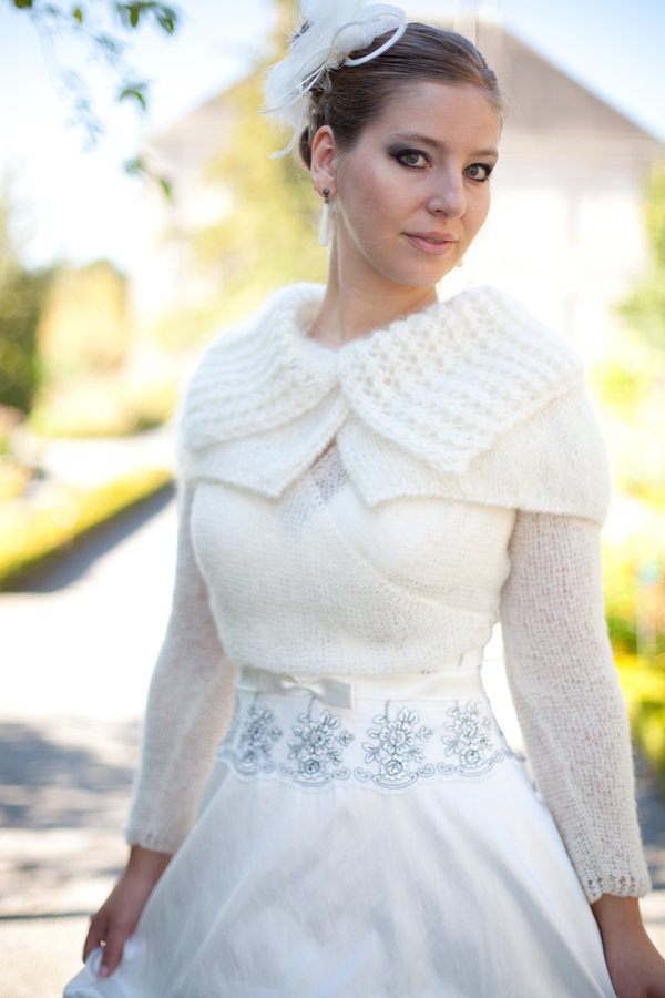 Capeline mariage hiver mohair ana s - Etole mariage hiver ...